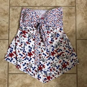 Tube top red white and blue floral top
